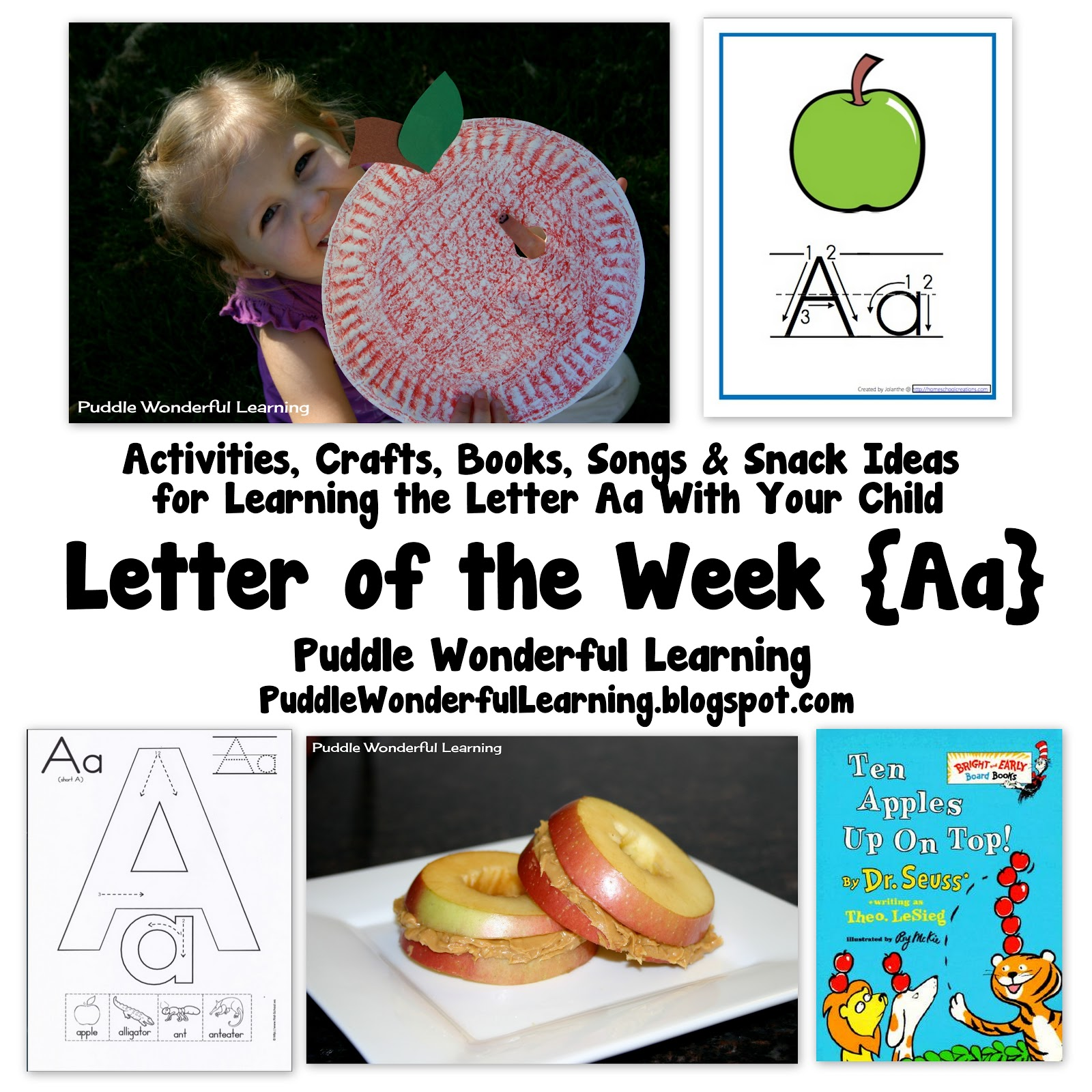 Puddle Wonderful Learning Preschool Activities Letter Of The Week Aa