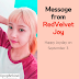 Message from Red Velvet Joy (Happy Joyday on September 3)