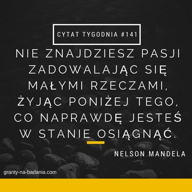 Nie znajdziesz pasji zadowalając się małymi rzeczami, żyjąc poniżej tego, co naprawdę jesteś w stanie osiągnąć - Nelson Mandela