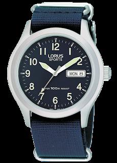 Montre style militaire bleu-marine bracelet en tissu