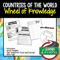 Countries of the World Activity, World Geography Activity, World Geography Interactive Notebook, World Geography Wheel of Knowledge (Interactive Notebook)