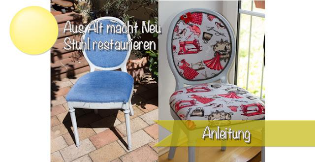 Schritt für Schritt Anleitung zum Beziehen eines alten Stuhles