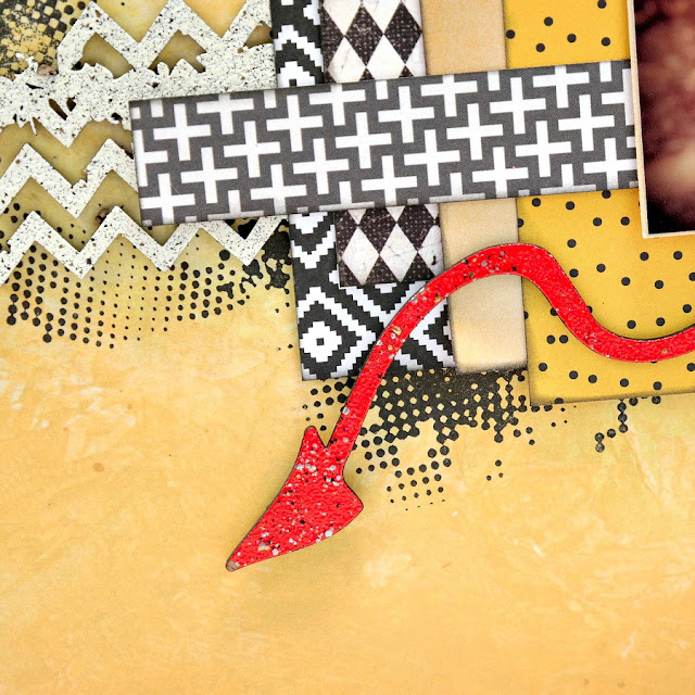 Red Embossed Chipboard Devil Tail on Little Devil Halloween Scrapbook Layout