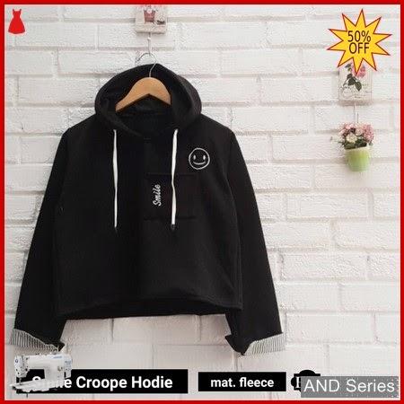 AND366 Sweater Wanita Smile Crop Hitam BMGShop