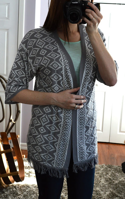 Skies are Blue Caine Fringe Open Cardigan - Stitch Fix Review