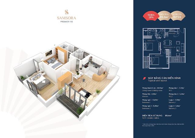 Thiết kế căn hộ 02 & 24: Diện tích 69,4m2