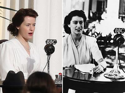 Claire Foy recria icônica cena de discurso da Rainha Elizabeth II. (Fonte: #jackvalentine/Dean/SplashNe/Reprodução; Getty Images/Reprodução)