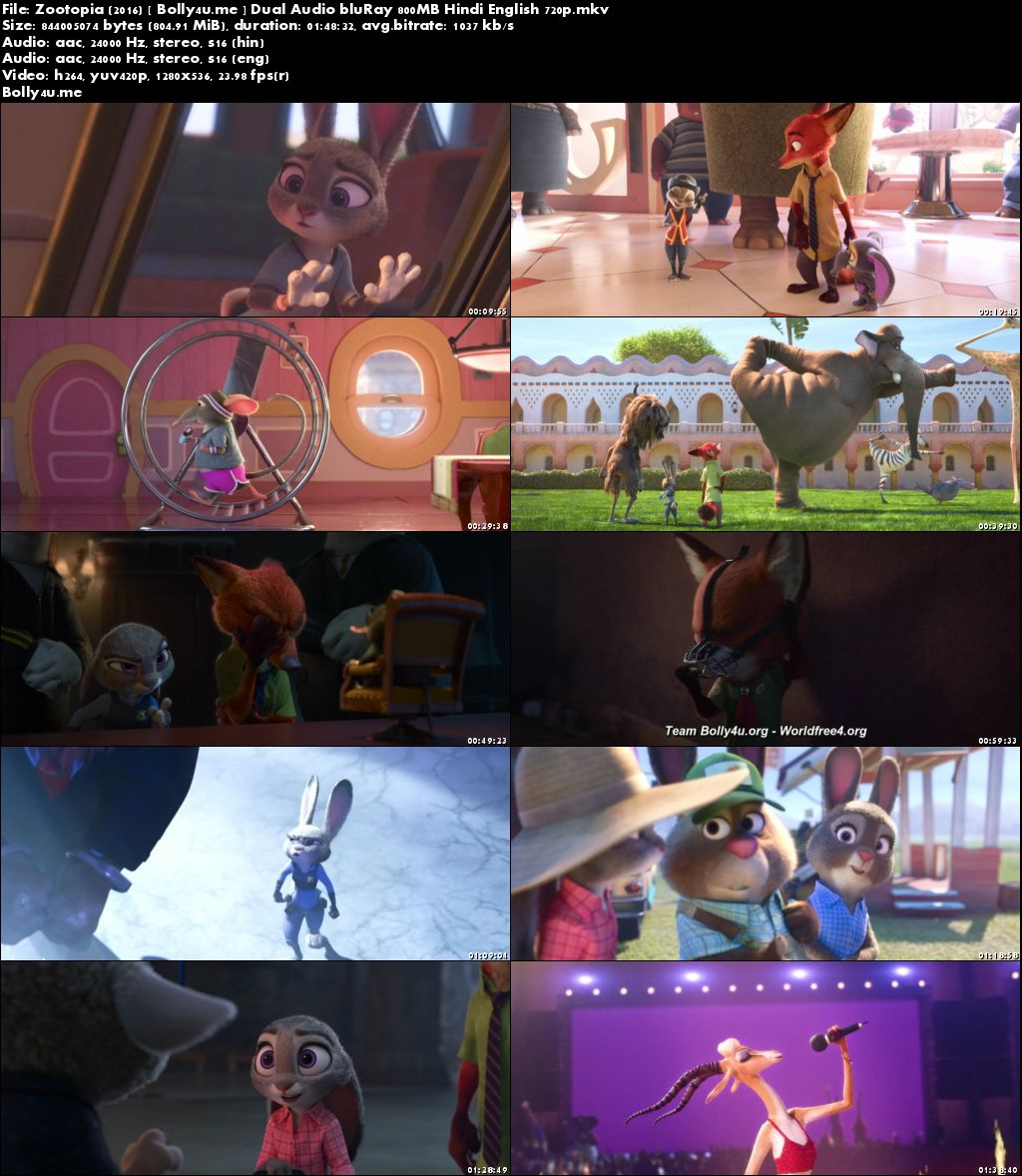 Zootopia 2016 BluRay 800MB Hindi Dual Audio 720p Download
