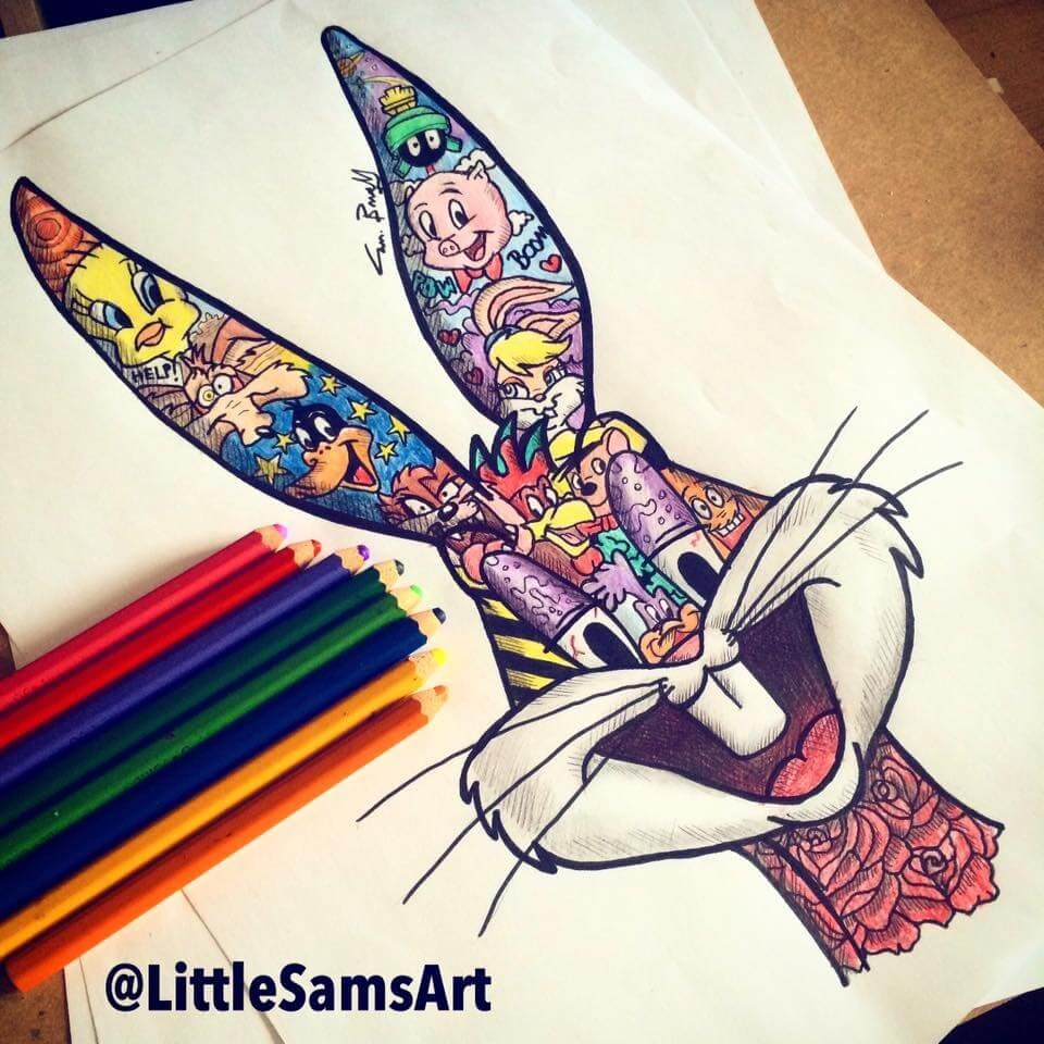 08-Looney-Tunes-Sam-Brunell-littlesamsart-Movie-Character-Drawings-within-Characters-www-designstack-co