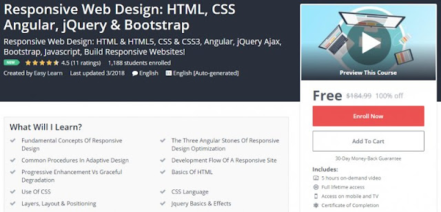 [100% Off] Responsive Web Design: HTML, CSS Angular, jQuery & Bootstrap| Worth 184,99$