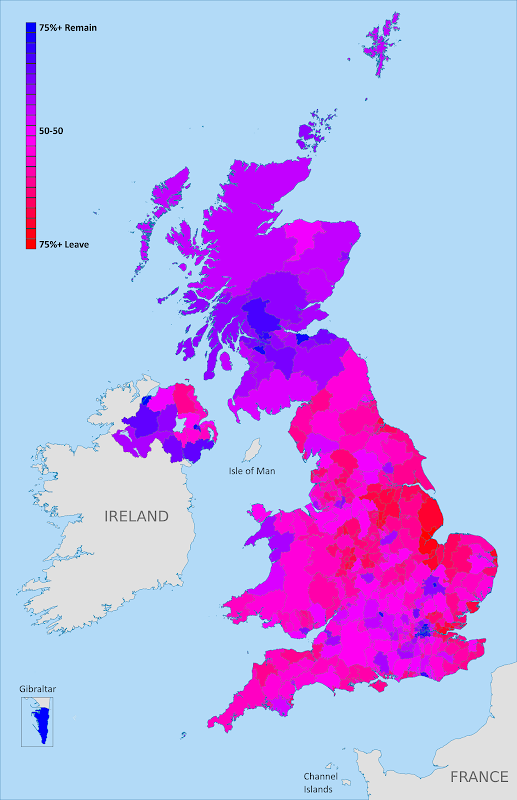 UK Brexit vote map: Map of election results in Britain's June 2016 referendum on leaving the European Union (EU). Continuous red-to-blue color scheme gives a more honest depiction of the similarities between different election districts. Colorblind accessible.