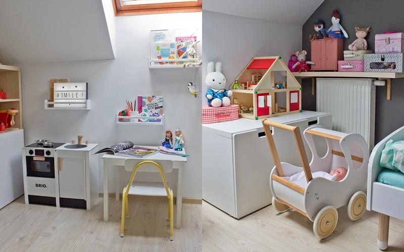 pokój małej dziewczynki, kuchnia brio, drewniany wózek dla lalek