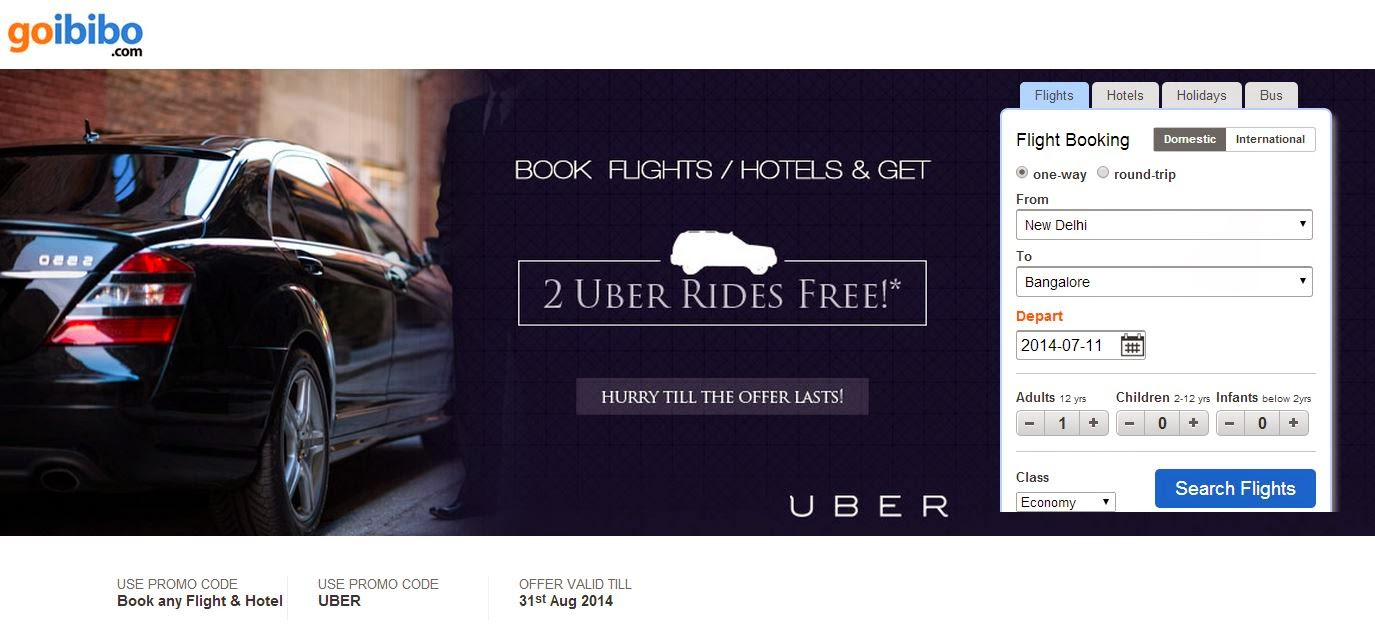 2 Uber Free Rides with Goibibo booking for hotel or flight