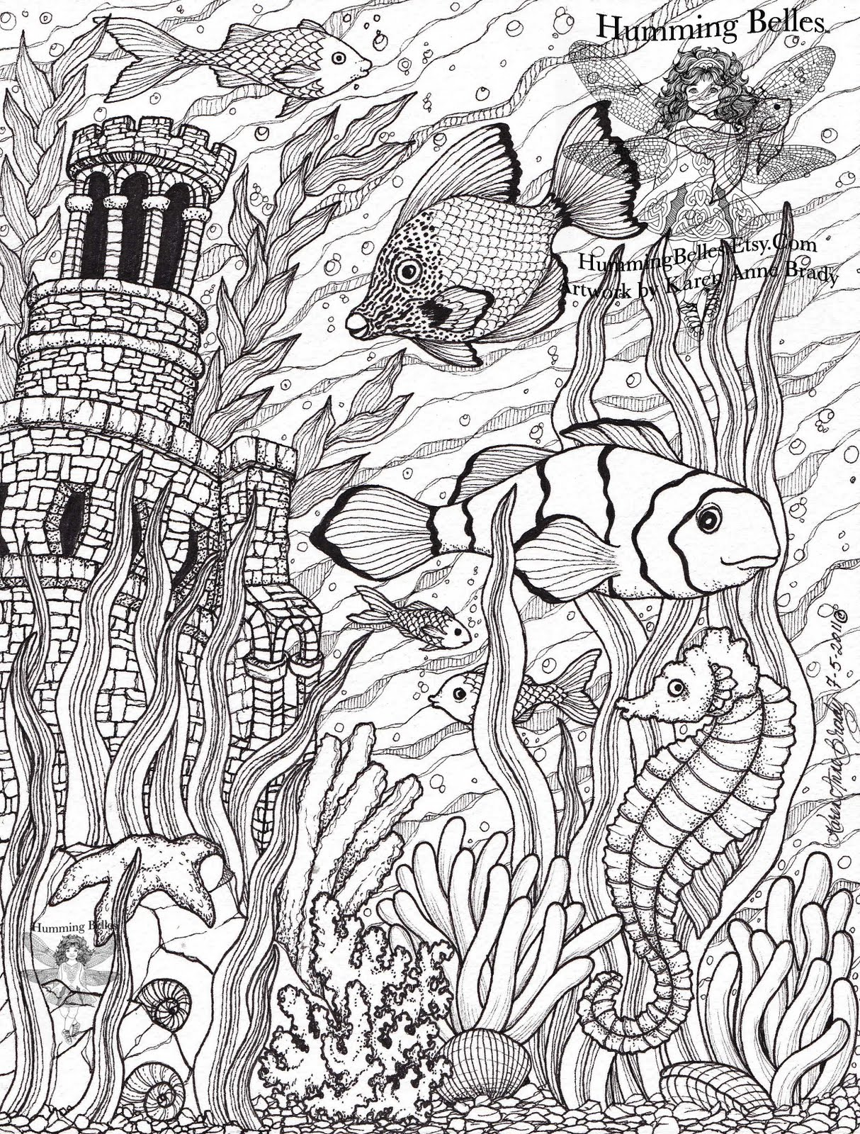 under sea coloring pages - humming belles new undersea illustrations and