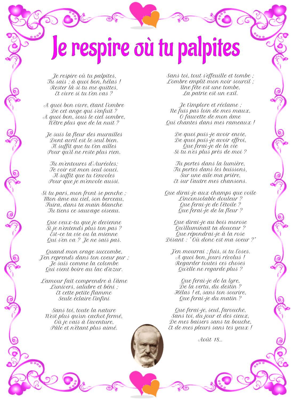 Poème : Je respire où tu palpites de Victor Hugo
