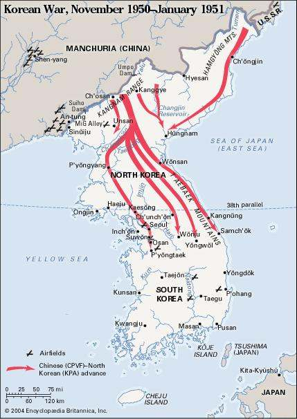 Chosin Reservoir & Korean War map