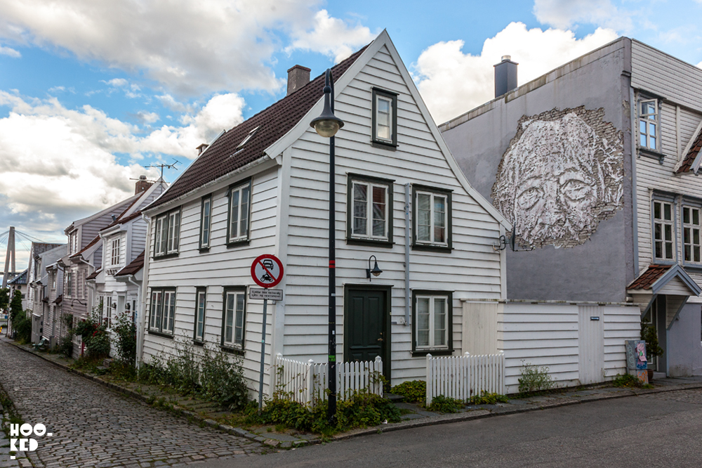 Portuguese artist Vhils mural in Stavanger, Norway