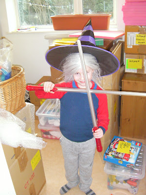 dual light sabres blonde wig and witches hat