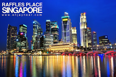 Raffles Place Buildings, Merlion, Singapore, Night, Nightscape, Shoot