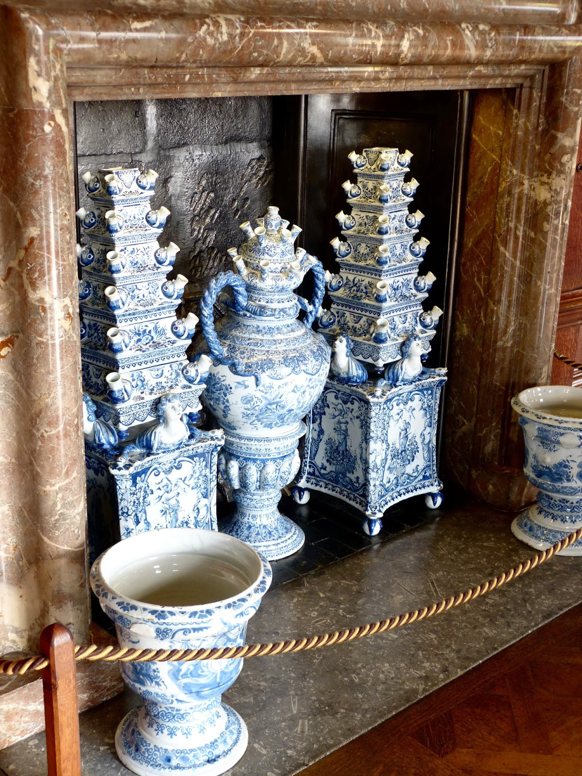 Delftware vases  in the Great Chamber, Chatsworth