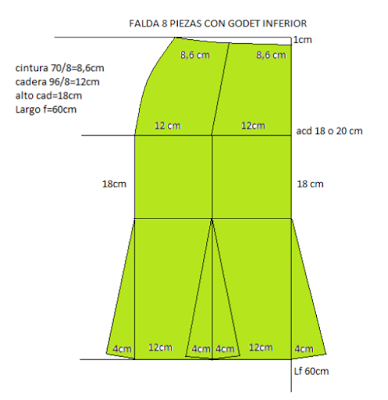 Falda de 8 piezas con godet inferior