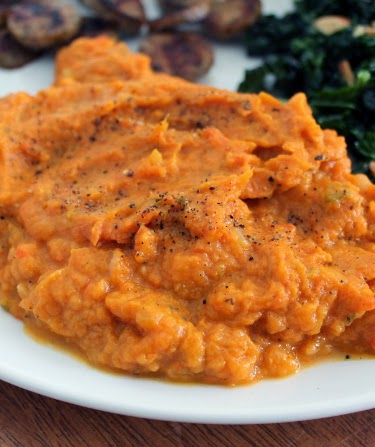 Mashed sweet potatoes mirepoix