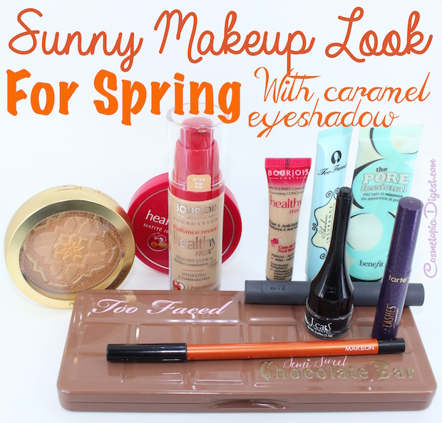 Here is a sunny Spring makeup look with caramel eyeshadows and a pop of orange, featuring Bourjois foundation, Physician's Formula Argan Bronzer and Too Faced Semi-Sweet Chocolate Bar palette