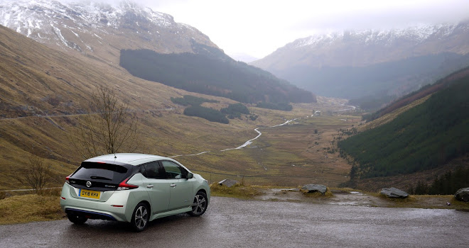 Nissan Leaf 2 overlooking a foggy Scottish glen