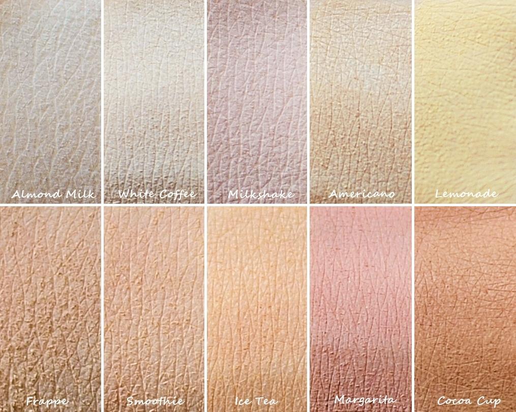 Swatche cieni glinkowych Annabelle Minerals