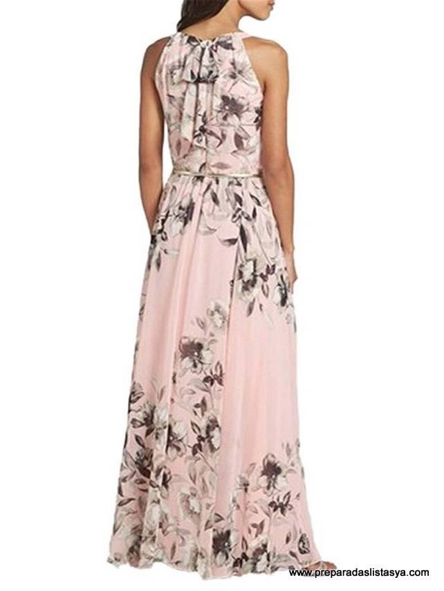 vestido largo flores rosa Newchic