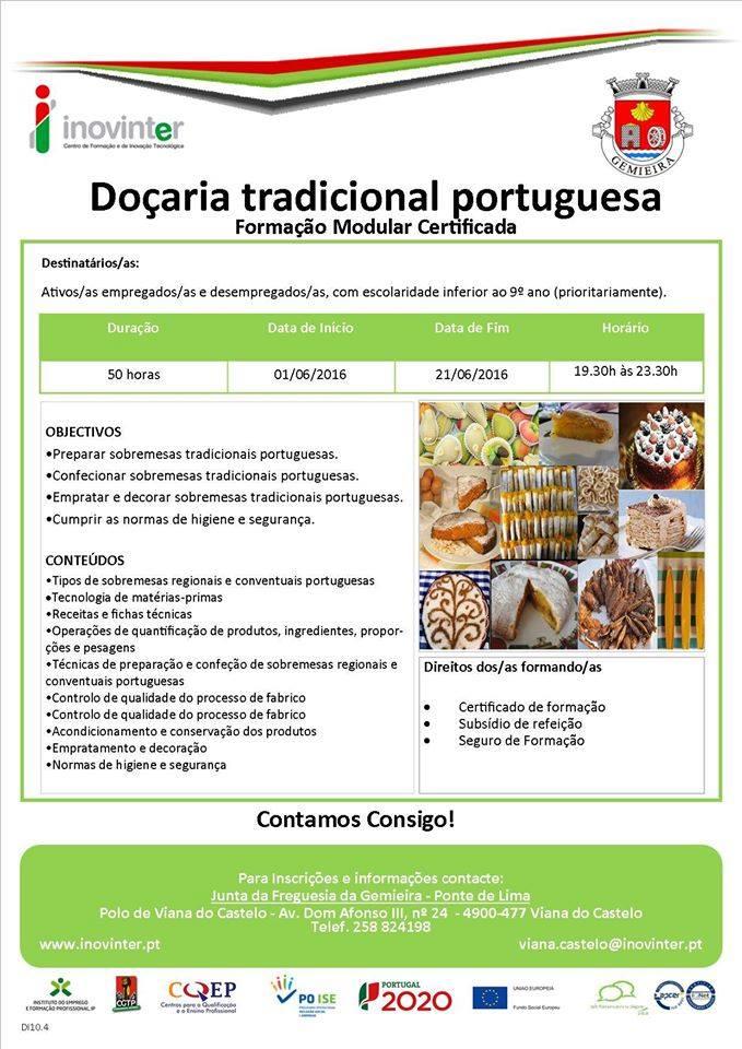 Formação modular financiada: Doçaria e cozinha tradicional portuguesa em Ponte de Lima