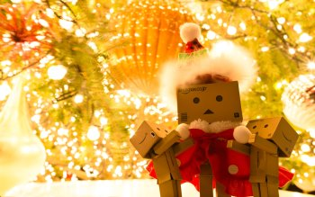Wallpaper: Holiday. Christmas. Danbo. Santa Claus