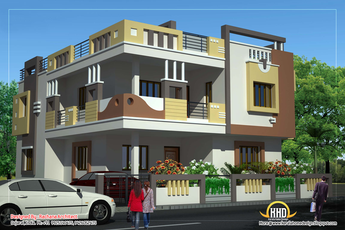 Duplex house plan and elevation 2878 sq ft kerala for Kerala building elevation