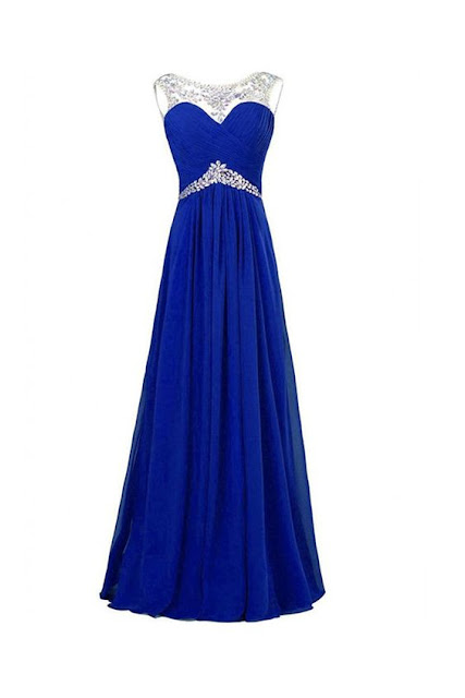 Royal Blue Chiffon Beaded Long Prom  Dresses