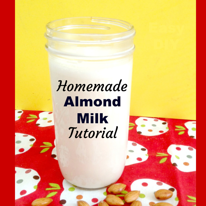 Homemade almond milk in a jar