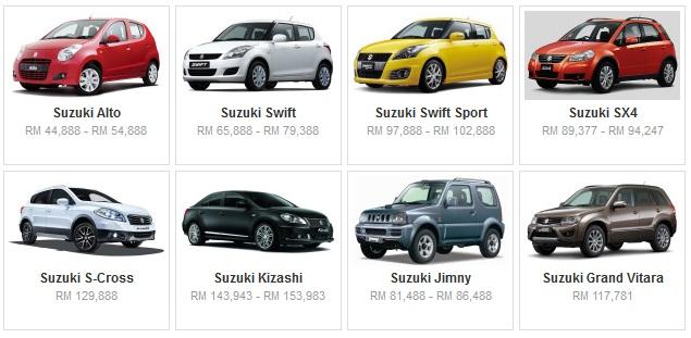 Senarai Harga Terkini Kenderaan Suzuki Baru Di Malaysia