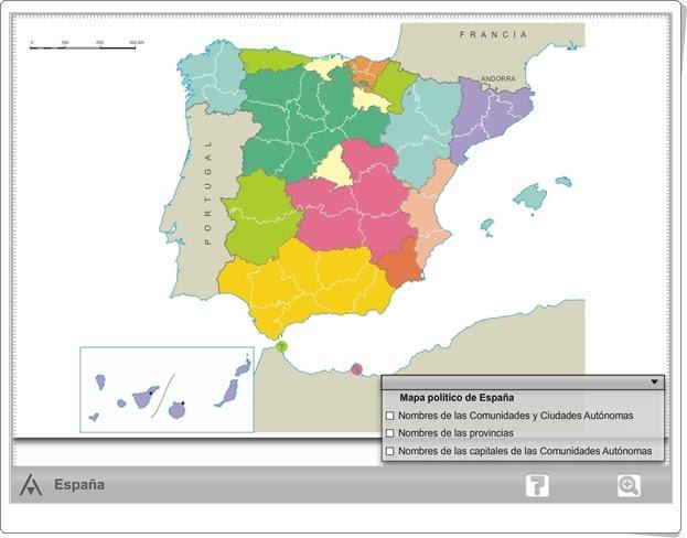 """""""Mapa interactivo político de España"""" (Ciencias Sociales de Primaria). Editorial Anaya."""