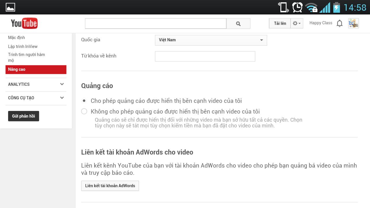 Thay đổi quốc gia trên Youtube