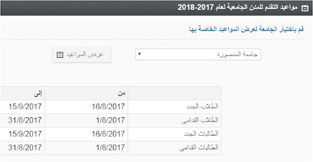 مواعيد التقديم للمدن الجامعية ب جامعة المنصورة 2017/2018 وموقع التقديم