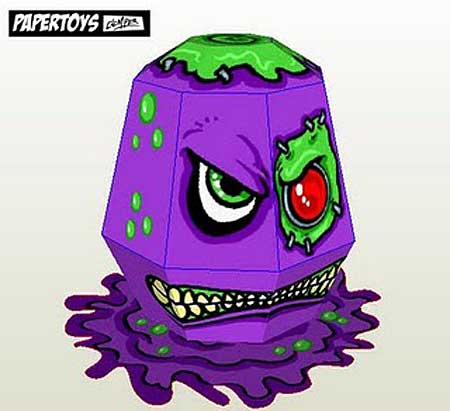 Paper Toy - Evil Purple Slime Monster - Papercraft4u ...