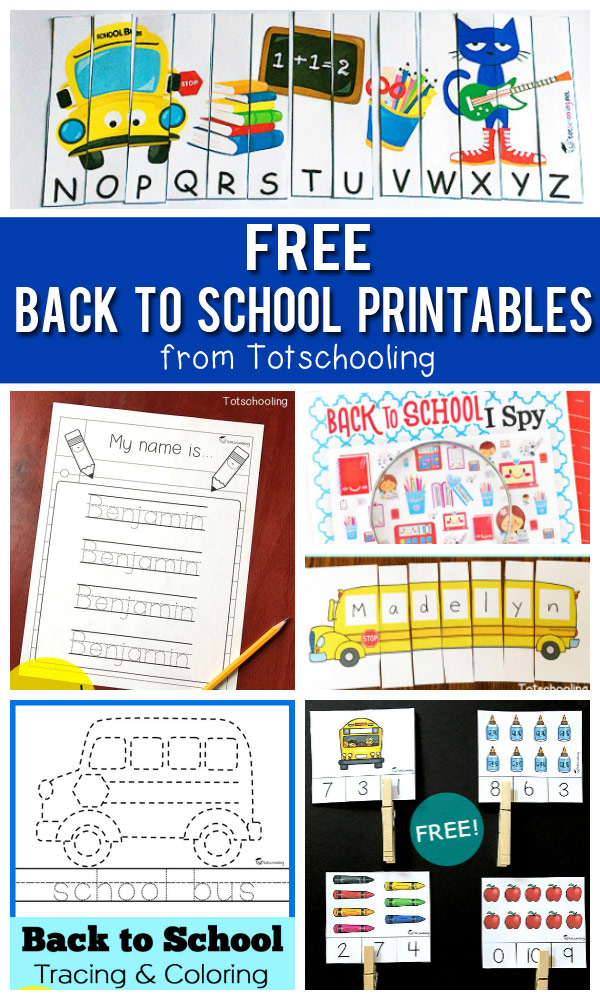 A collection of FREE Back to School printables for preschool, pre-k and kindergarten kids featuring school bus, all about me, pete the cat, name recognition activities, coloring pages and more!