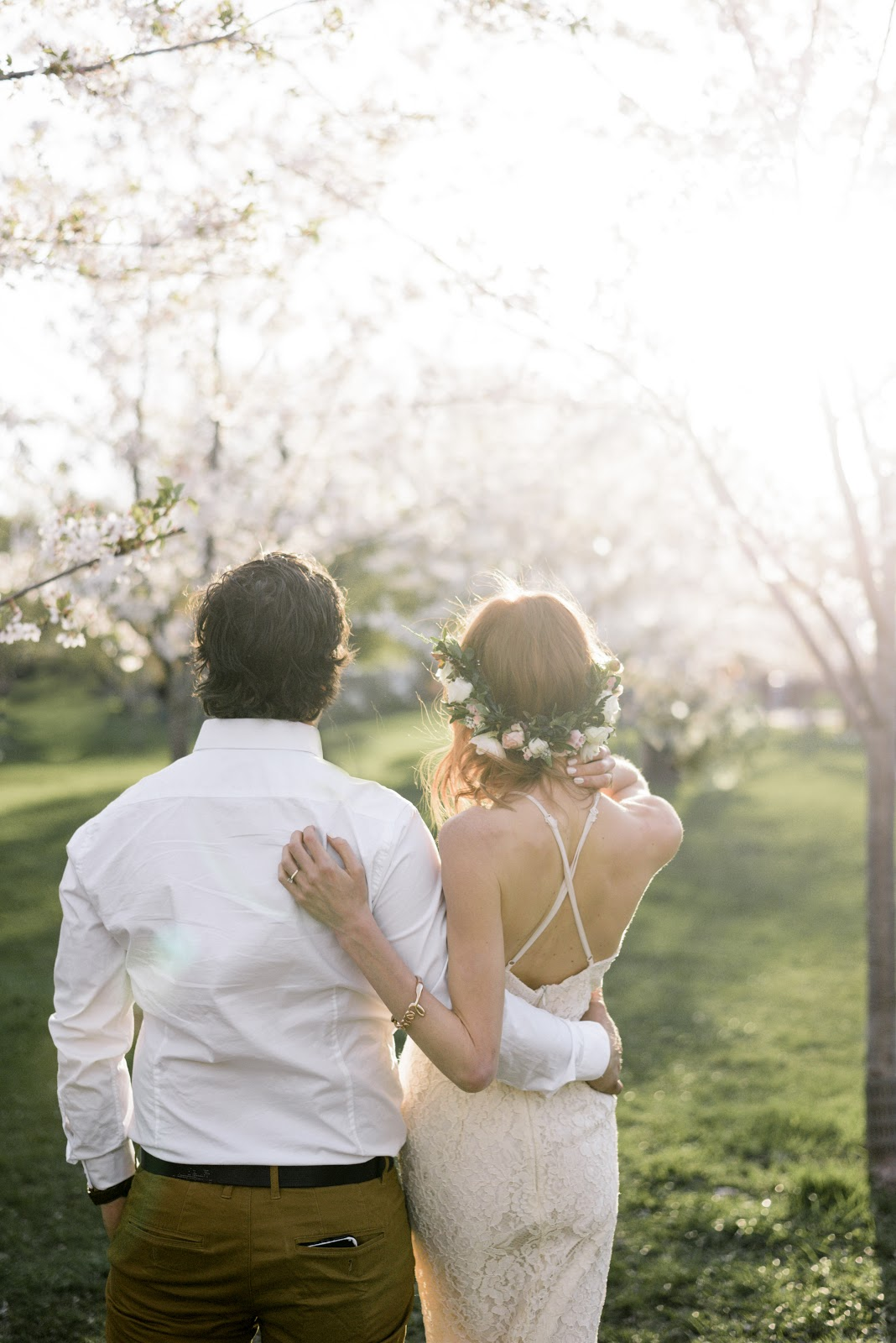 Gabriella and Brandon, Pastels & Pastries engagement, Toronto Engagement Shoot, Trinty Bellwoods Engagement, Cherry Blossom Engagement Shoot, how to plan an engagement shoot, Alix Gould Photography, lace boho wedding dress, wild north florals crown, Honey lace dress