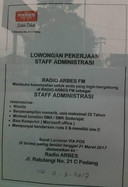 Lowongan Kerja di Padang – Radio Arbes FM – Staf Administrasi (Closed 2 – 3 – 2017)