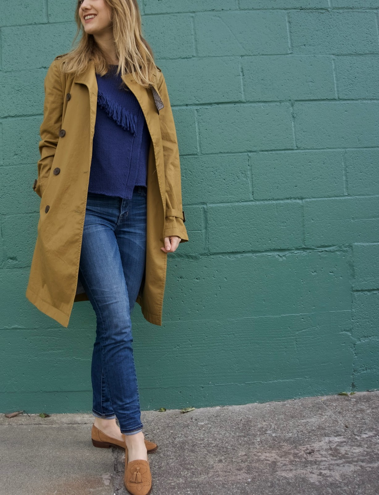 Trench coat and loafers