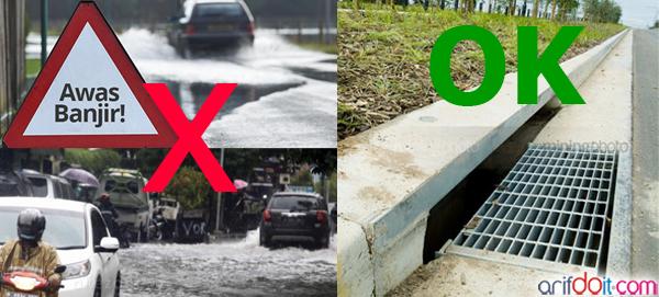 Drainase penting mencegah luapan air masuk jalan