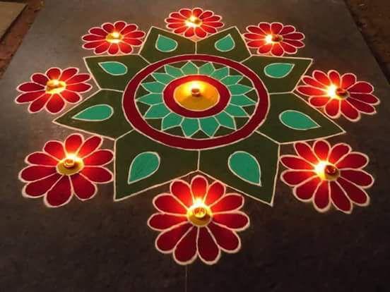 Easy rangoli for Diwali celebration