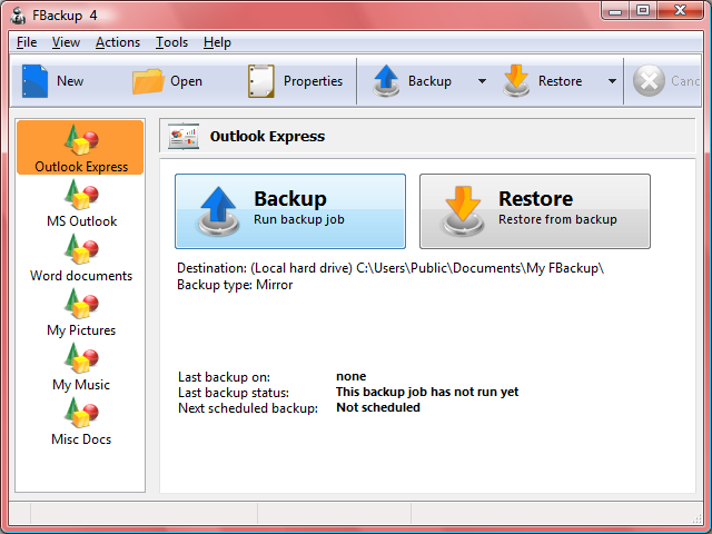 Download FBackup, Free Data Backup