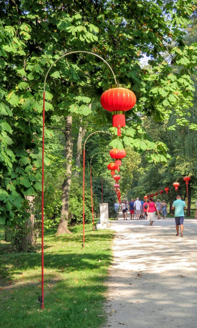 Chinese lanterns along the path of Łazienki Park in Warsaw, Poland