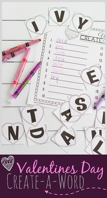 FREE Valentines Day Create-a-Word - This is such a fun hands on educational activity to help kindergarten, first grade, 2nd grade, and 3rd grade kids practice making words and spelling with a fun activity for a Valentine's Day center, seat work, parties, extra practice, and homeschool.