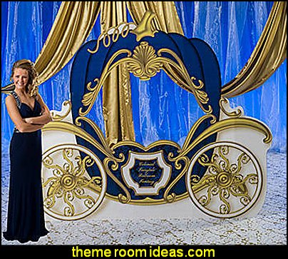 Midnight Blue Fairytale Romance Carriage princess party decorating props